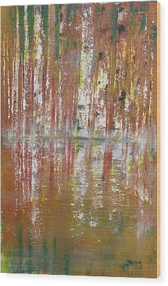 Wood Print featuring the painting Birch In Abstract by Gary Smith