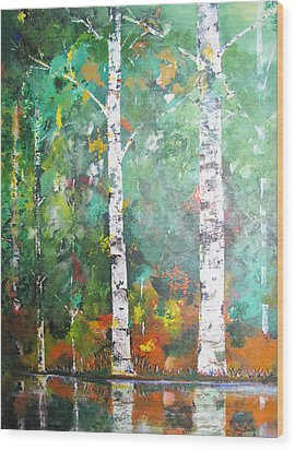 Wood Print featuring the painting Birch In Color by Gary Smith