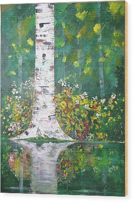 Wood Print featuring the  Birch In Flowers by Gary Smith