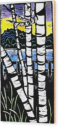 Birch Lake Wood Print by Jane Croteau