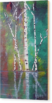 Wood Print featuring the painting Birch On Bank by Gary Smith