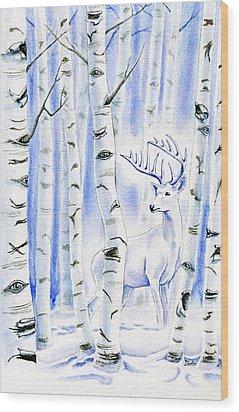 Birch Spirit Wood Print by Antony Galbraith