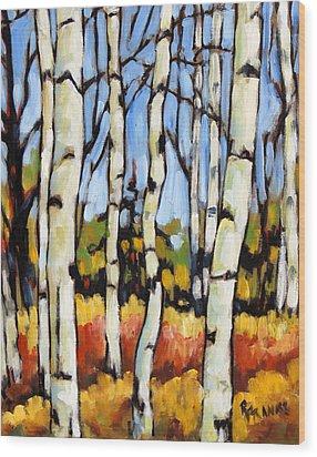 Birch Study By Prankearts Wood Print by Richard T Pranke