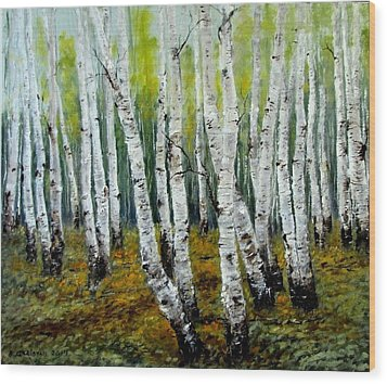 Birch Trail Wood Print