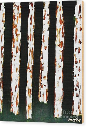 Birch Tree Forest L Wood Print by Marsha Heiken