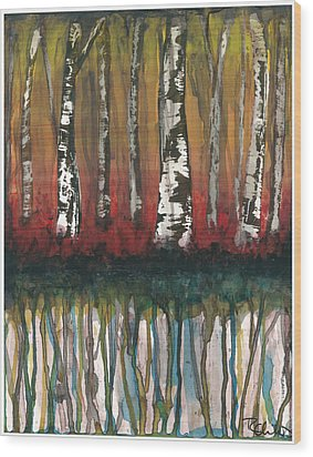 Birch Trees #2 Wood Print by Rebecca Childs