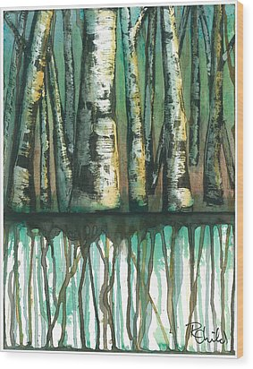 Birch Trees #5 Wood Print by Rebecca Childs