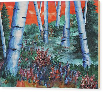 Birch Trees At Sunset Wood Print by Curtiss Shaffer