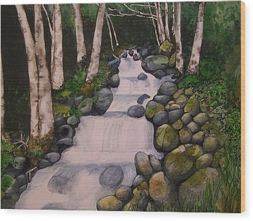 Wood Print featuring the painting Birch Trees By The Brook by Lynn Babineau