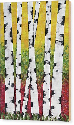 Wood Print featuring the mixed media Birch Forest Trees by Christina Rollo