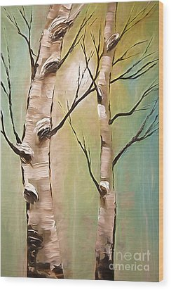 Birch Trees Color Pencil  Wood Print by Heinz G Mielke