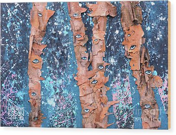 Wood Print featuring the mixed media Birch Trees With Eyes by Genevieve Esson