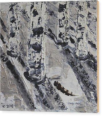 Birches And Snowy Shadows Wood Print by Valerie Ornstein
