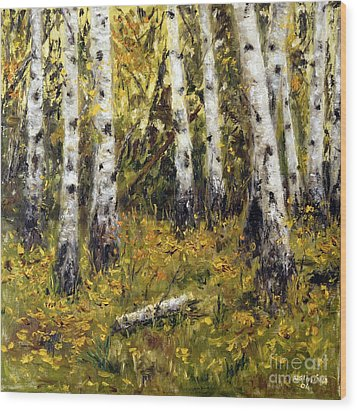 Wood Print featuring the painting Birches by Arturas Slapsys