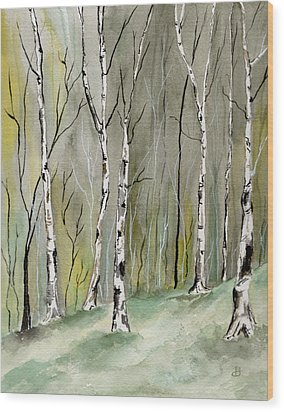 Birches Before Spring Wood Print
