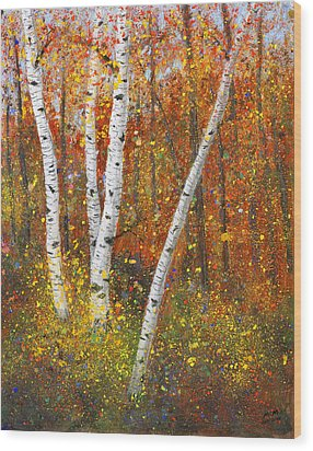 Birches Wood Print