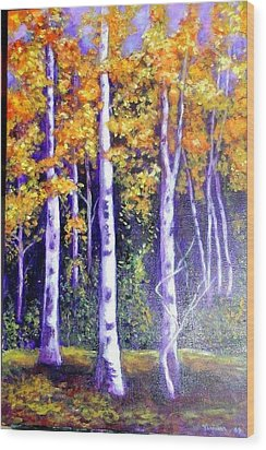 Birches In Canadian Fall Wood Print