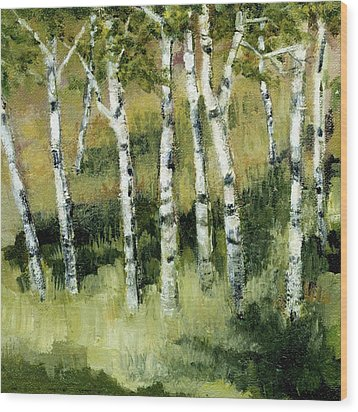 Birches On A Hill Wood Print