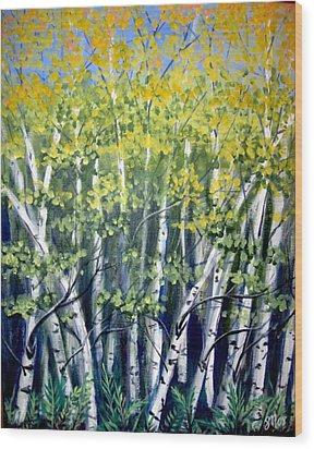 Birches Wood Print by Sharon Marcella Marston