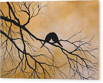 Bird Art Lost Without You By Amy Giacomelli Wood Print by Amy Giacomelli