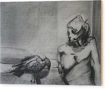 Bird Drama Wood Print by Brad Wilson