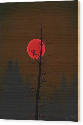 Bird In A Tree Wood Print by Stuart Turnbull