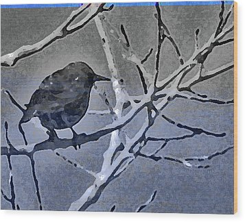 Bird In Digital Blue Wood Print