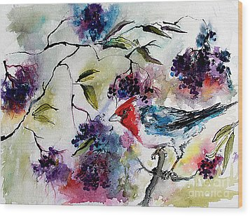 Wood Print featuring the painting Bird In Elderberry Bush Watercolor by Ginette Callaway