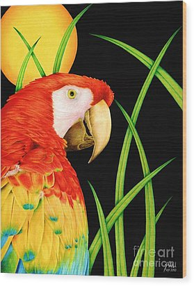 Bird In Paradise Wood Print by Sheryl Unwin
