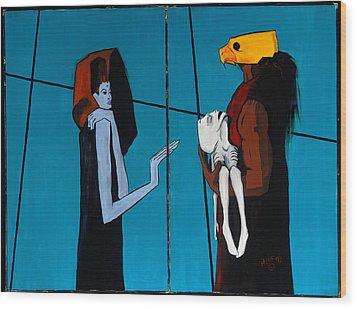 Bird Mask 36x48 Wood Print