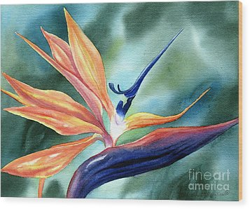 Bird Of Paradise Wood Print by Deborah Ronglien