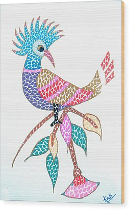 Bird On A Branch Wood Print by Kruti Shah