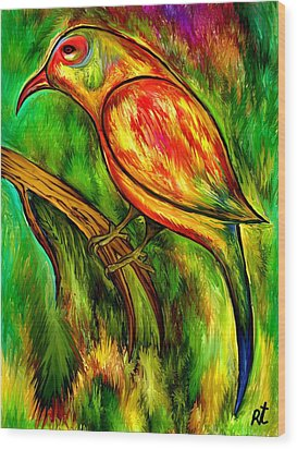 Bird On A Branch Wood Print by Rafi Talby