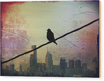 Bird On A Wire Wood Print by Bill Cannon
