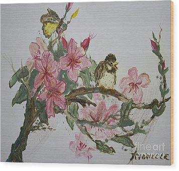 Wood Print featuring the painting Bird On Blossoms by Avonelle Kelsey
