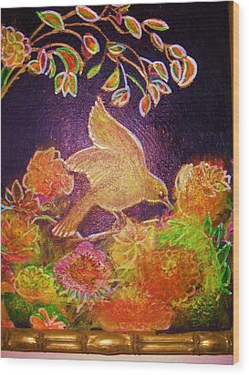 Bird On Flowers On A  Glorious Night Wood Print by Anne-Elizabeth Whiteway