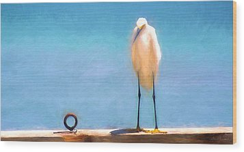 Bird On The Rail Wood Print