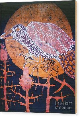 Bird On Thistle At Sundown Wood Print by Carol Law Conklin