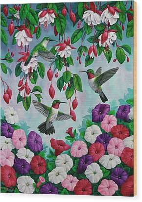 Bird Painting - Hummingbird Heaven Wood Print by Crista Forest