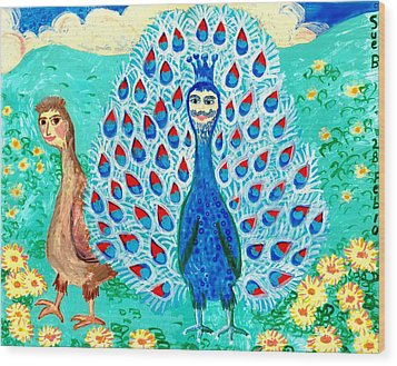 Bird People Peacock King And Peahen Wood Print by Sushila Burgess
