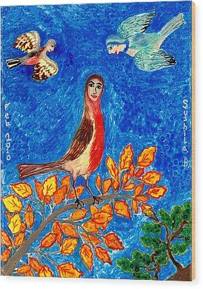 Bird People Robin Wood Print by Sushila Burgess