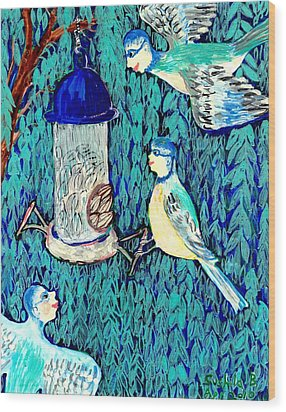 Bird People The Bluetit Family Wood Print by Sushila Burgess
