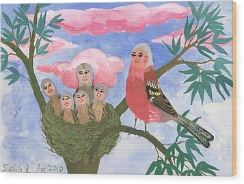 Bird People The Chaffinch Family Wood Print by Sushila Burgess