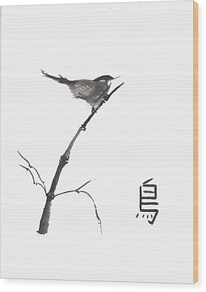 Wood Print featuring the painting Bird by Sibby S