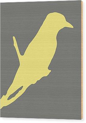 Bird Silhouette Gray Yellow Wood Print by Ramona Johnston