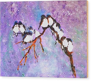 Wood Print featuring the painting Bird Snowfall Limited Edition Print 1-25 by Donna Dixon