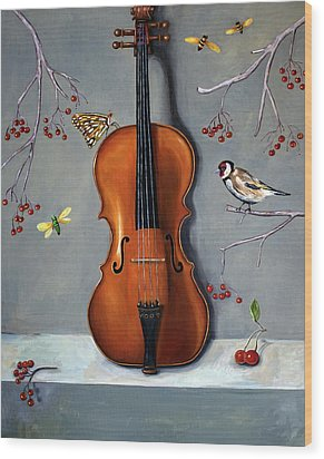 Bird Song Wood Print by Leah Saulnier The Painting Maniac