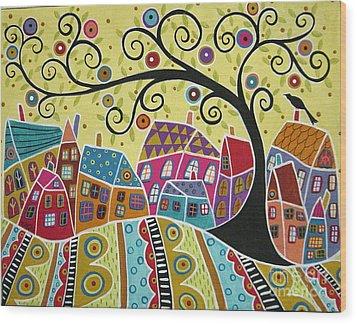 Bird Ten Houses And A Swirl Tree Wood Print by Karla Gerard