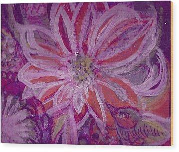 Bird Watching Flower Wood Print by Anne-Elizabeth Whiteway