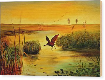 Bird Water Wood Print